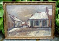 Belgian oil on canvase winter village scene by Herman Broechaert