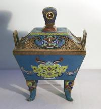 Chinese ritual vessel enamel on copper cloisonne