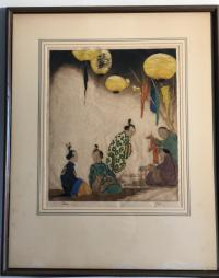 D P Tyson Feast of Lanterns original signed etching
