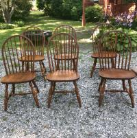 Set of 6 vintage Hitchcock oak Windsor plank seat chairs c1980