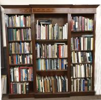 Large inlaid mahogany library bookcase c1875