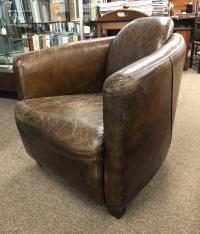 Vintage Belgian analine dyed leather Art Deco style chair