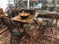 D R Dimes bow back Windsor chairs in black paint