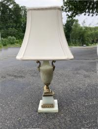 Vintage alabaster and bronze table lamp c1920
