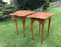 Pair of tiger maple porringer top tables in Queen Anne style