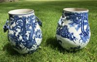 Pair Chinese Export porcelain deer jars