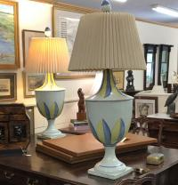 Pair of Italian tin glazed pottery lamps