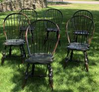 Set of 6 D R Dimes Windsor chairs in black paint