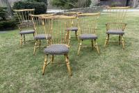 Handmade Windsor set of chairs in mustard paint
