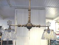 Antique Victorian brass gas hanging fixture