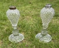 Pressed glass whale oil lamps c1850