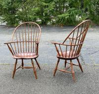 D R Dimes pair Windsor armchairs with saddle seats