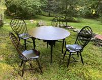 D R Dimes round maple table and chairs