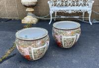 Large pair Chinese export fish bowl planters