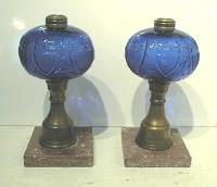 Antique American Cobalt pattern glass lamps
