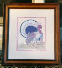 Antique lithograph American Turkey Engraving