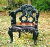 Old Chinese furniture Carved dragon or serpent  Chair