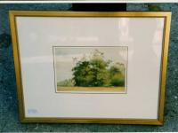 Antique Watercolor landscape by Fannie Burr