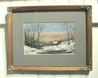 American Art landscape 19thc Winter painting