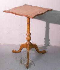 Antique Snake foot candle stand with curly maple