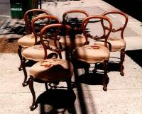 Period set of English Victorian walnut chairs