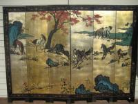 Chinese screen with horses