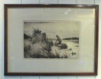 Duck Blind etching by Ogden Pleissner