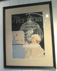 Antique Watercolor The Pet Store by F.A.Nash