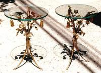 Pair of Antique French iron and glass leaf pattern end tables