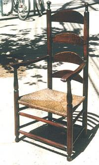 Period Antique American country ladder back arm chair