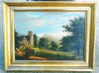 Antique English pastoral landscape painting