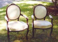 Antique pr Louis XV French carved arm Chairs