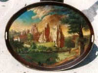 Flemish oil on copper view of Roman ruins