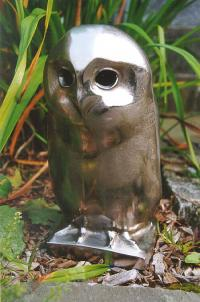 Contemporary Owl sculpture cast in steel
