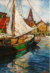 William Potter Oil on canvas Gloucester Ma