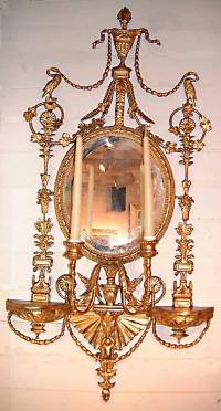 Fine English Adams style gilt wood mirrors