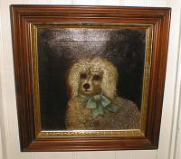 Antique English painting of a toy Poodle