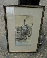 Antique watercolor painting by Henry Muhrman