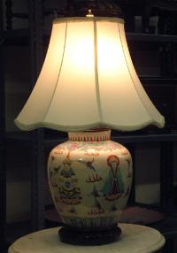 Chinese ceramic Buddha lamp c1870