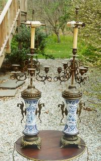 Pair of bronze mounted Delft Porcelain Candleabra Lamps