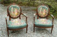 Pair of Antique French Louis XV Style Parlor Chairs