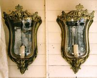 Pair of English Victorian crested brass and blown glass wall sconces