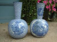 Antique English Staffordshire Porcelain Vases