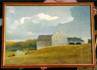 Eric Sloane Oil on board painting of a Barn in a field