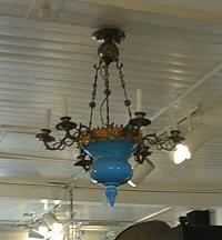 Period Blue Opaline glass and brass hang fixture