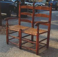 Antique American ladder back wagon seat