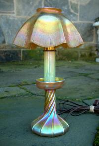 Tiffany favrile glass candlestick lamp LCT