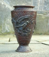 Antique Japanese Bronze Vase with Dragon