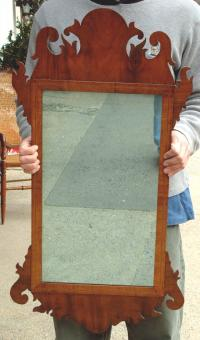 Antique American Chippendale Period Inlaid Mahogany Mirror circa 1770