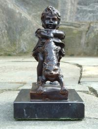 Girl Pulling Cat by the Tail Bronze